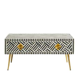 Bone Inlay Criss Cross Coffee Table