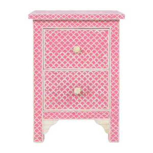 Bone inlay Bedside Table Pink