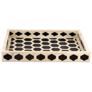 Bone inlay Geometric Serving Tray