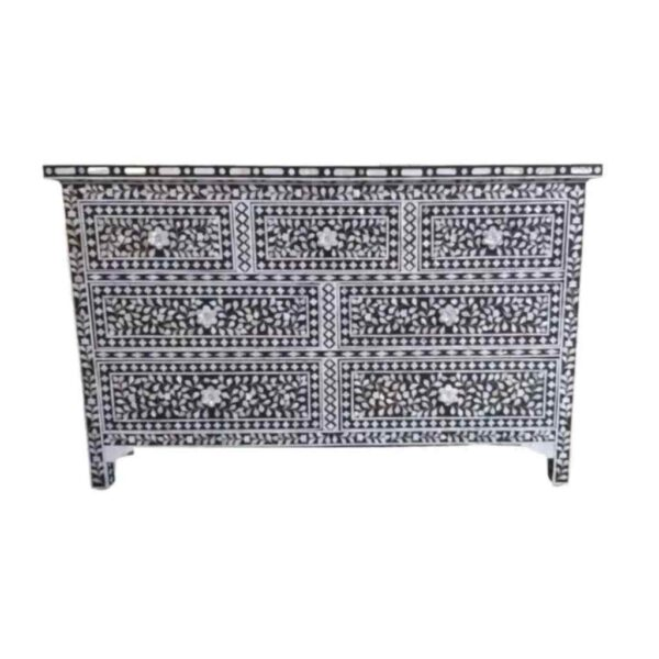 Mother of Pearl Inlay Floral Chest 7-Drawers