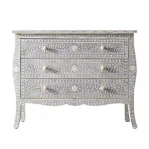 Bone Inlay Provincial 3-Drawer Floral Chest