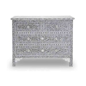 Mother of Pearl Floral Chest 4-Drawers
