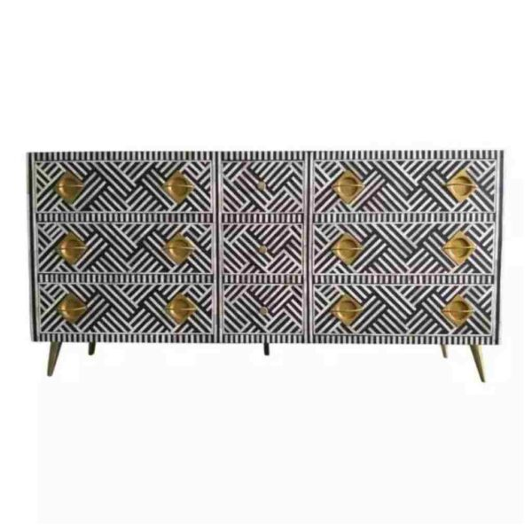 Bone Inlay 9 Drawer Sideboard with Brass Black