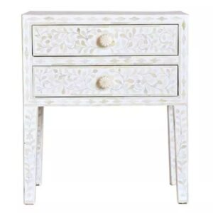 Bone inlay 2 Drawers Bedside Table