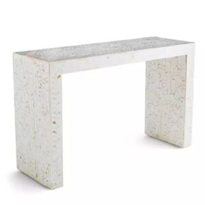 Waterfall Bone Inlay White Console Table