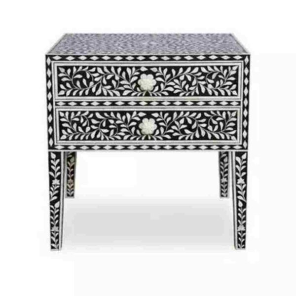 Bone Inlay Floral Bedside Table