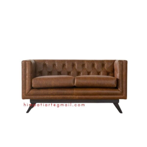 CHESTNUT LEATHER 2 SEATER CHESTERFIELD