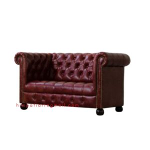CHERRY COLOR LEATHER TUFTED SOFA