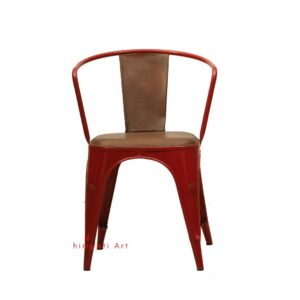 Iron Leather Arm Chair