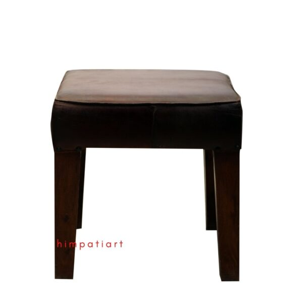 Wooden Leather Stool Chair