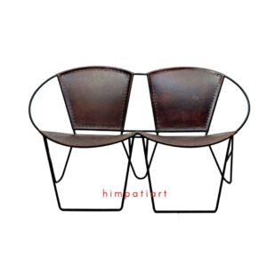 Wrought iron leather chairs