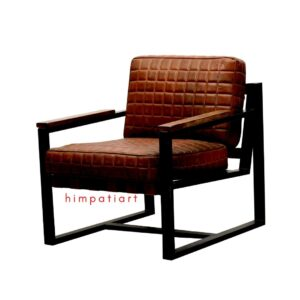 Iron leather sofa chair